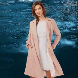 Liz Claiborne pink polka dot trench coat m…